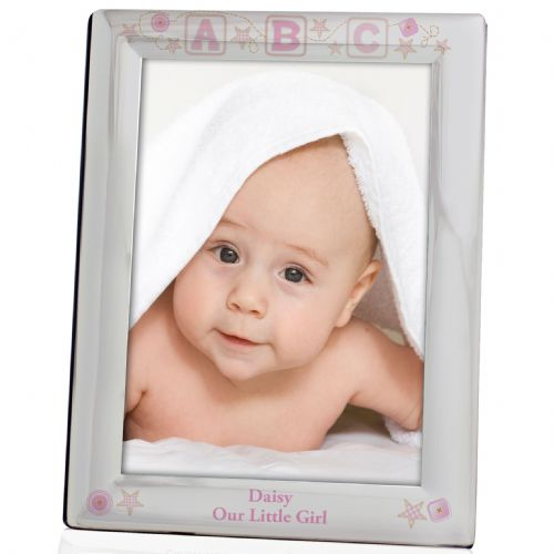 Personalised Pink ABC Silver 5x7 Photo Frame